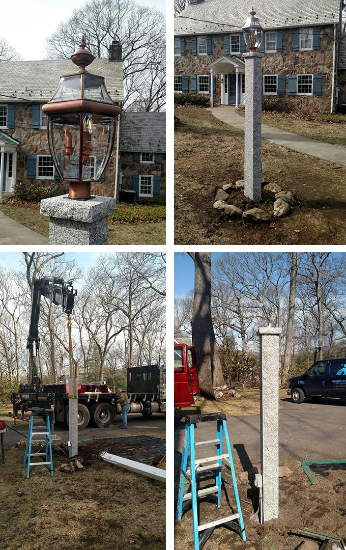 granite light post fixture installation